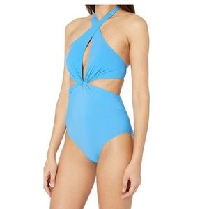 KATE SPADE Knotted Halter One-Piece Blue Swimsuit